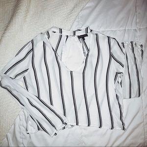Striped cutout top